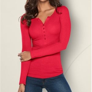 VENUS Ribbed Henley Top NWOT Red